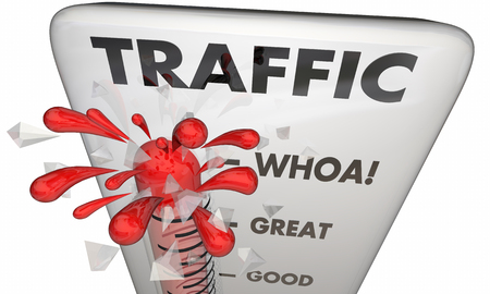 visitors: Traffic Thermometer Measure Audience Great Visitors 3d Illustration Stock Photo