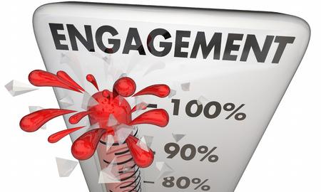 involvement: Engagement Level High Involvement Participation Thermometer 3d Illustration