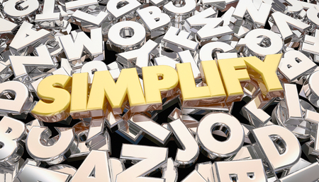 복잡성 단순화 복잡한 메시지 단어 문자 3d 애니메이션