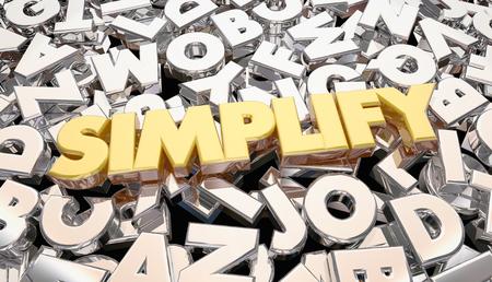 Vereenvoudig Complicatie Complex Message Word Letters 3D-animatie