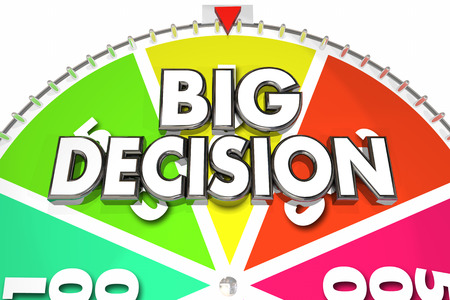 spinning: Big Decision Game Spinning Wheel Choose Choice 3d Illustration Stock Photo