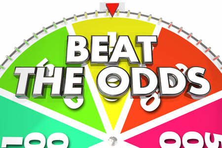 wheel spin: Beat the Odds Spinning Wheel Chance Win 3d Illustration
