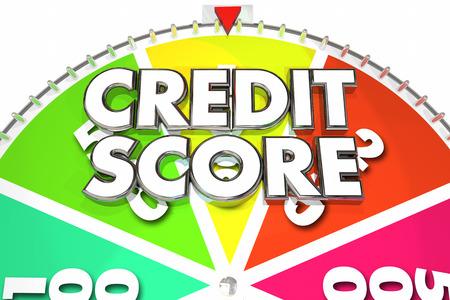 Score van het Krediet Beoordeling Aantal Win Best Spinning Wheel 3d Illustratie Stockfoto