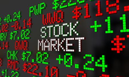 Stock Market Ticker Wall Street Prijzen Quotes 3d Illustratie