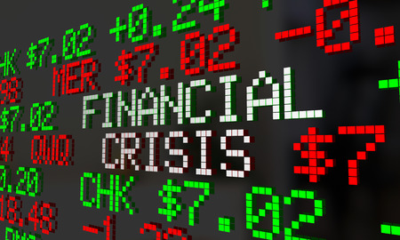 Financial Crisis Stock Market Ticker Words 2 3d Illustration Stock Photo