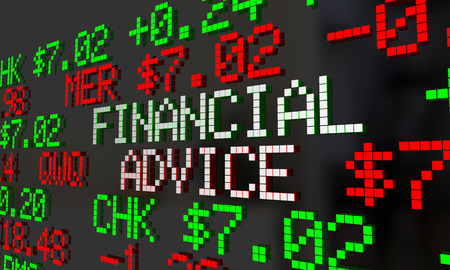 financial advice: Financial Advice Advisor Money Help Stock Ticker 3d Illustration