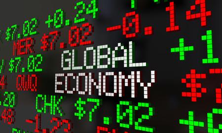 stock quotes: Global Economy Stock Market Ticker Trading 3d Illustration