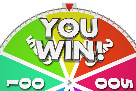spinning: You Win Spinning Game Show Wheel 3d Illustration