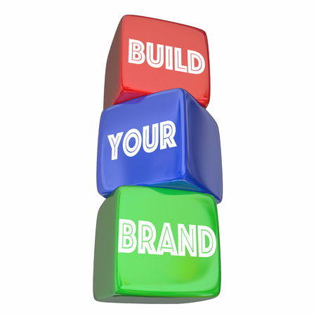 improving: Build Your Brand Company Business Marketing Plan 3d Illustration Stock Photo