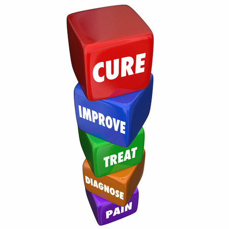 getting better: Cure Pain Disease Diagnose Treat Word Cubes Steps 3d Illustration Stock Photo