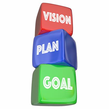 Vision Plan Goal Objective Strategy Steps Blocks 3d Illustration 版權商用圖片