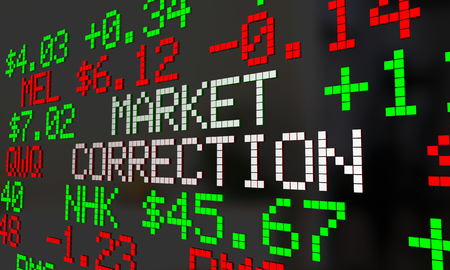 share prices: Market Correction Stock Prices Fall Ticker Adjustment 3d Illustration