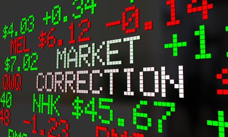 Marktcorrectie Stock prijzen dalen Ticker Adjustment 3d Illustratie