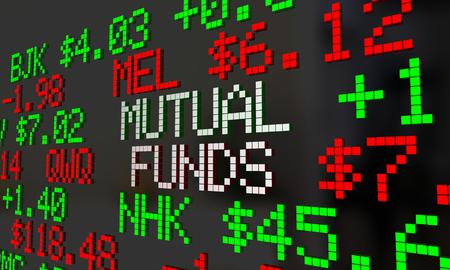 ganancias: Fondos mutuos teletipos Desplazamiento opciones de inversión ilustración 3d