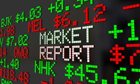Market Report News Stock Wall Street Price Ticker 3d Illustration Stock Photo