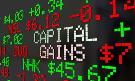 traders: Capital Gains Stock Market Trade Profit Money Earned Ticker 3d Illustration