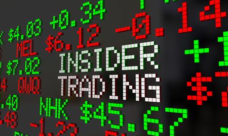 insider: Insider Trader Illegal Stock Market Trading Ticker Symbols 3d Illustration Stock Photo