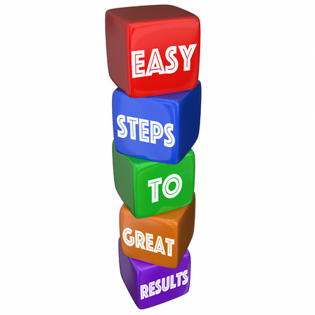 Easy Steps to Great Results Cube Tower 3d Illustration 版權商用圖片 - 68582135