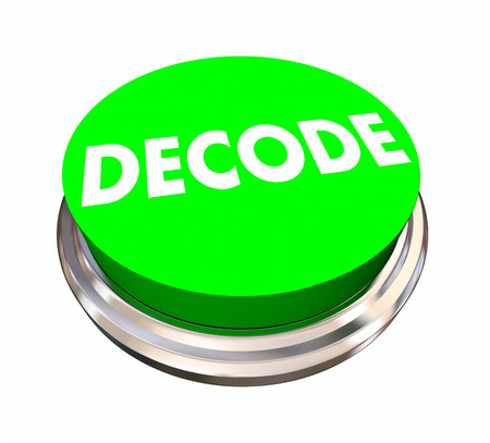 green issue: Decode Button Decipher Answer Solve Problem 3d Illustration