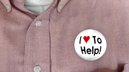 aiding: I Love to Help Button Pin Worker Customer Support 3d Illustration Stock Photo