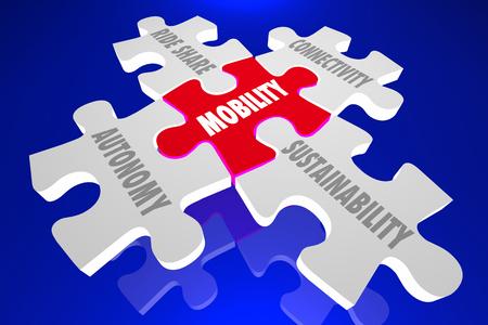 Mobility Autonomous Ride Share Transportation Puzzle 3d Illustration