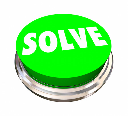 figuring: Solve Button Fix Problem Solution Word 3d Illustration