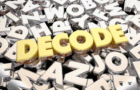 Decode Message Letters Word Decipher Secret 3d Illustration Stock Photo