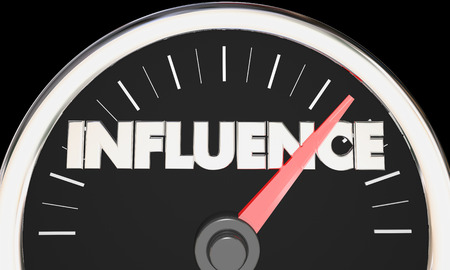 clout: Influence Speedometer Power Persuasion Word 3d Illustration