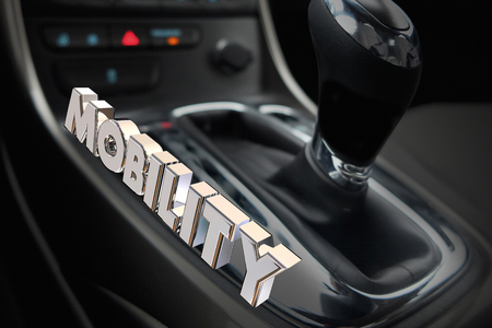 shifting: Mobility Gear Shift Car Vehicle Transportation Word 3d Illustration
