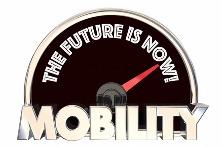 New Mobility the Future is Now Speedometer 3d Illustration Imagens