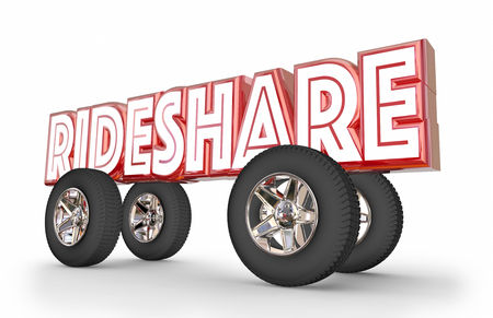 Rideshare Car Vehicle Transportation Sharing Rides 3d Illustration