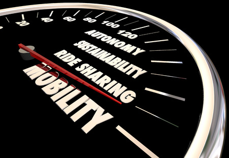 New Mobility Speedometer Autonomous Ride Sharing Car 3d Animation Stock Photo
