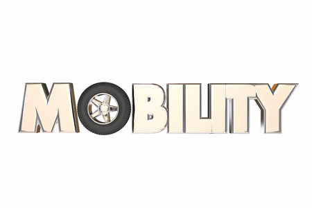 Mobility Wheel Word New Transportation Travel 3d Illustration