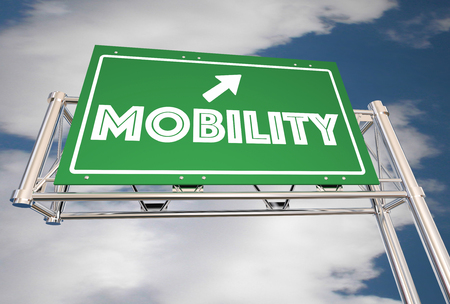 Mobility Freeway Sign New Transportation Ride Sharing 3d Illustration