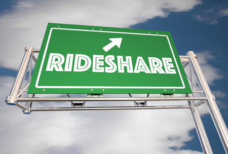 Ride Share Freeway Sign Carpool Commuters 3d Illustration