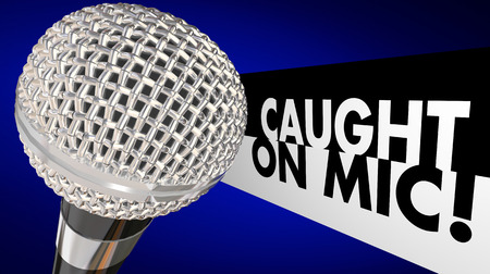 sound proof: Caught on Microphone Interview Talk Words 3d Illustration Stock Photo