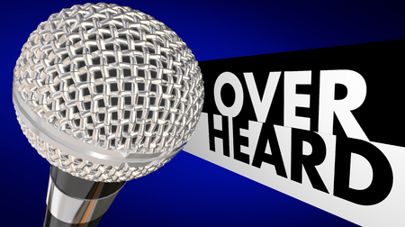 rumor: Overheard Buzz News Rumor Gossip Microphone 3d Illustration