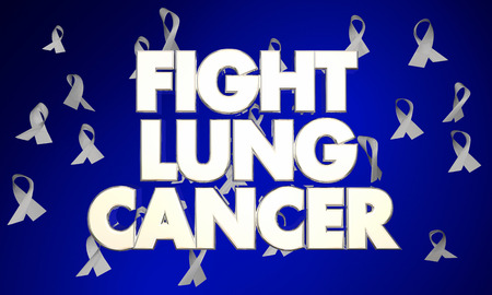 fighting cancer: Fight Lung Cancer Disease Ribbons Words 3d Illustration