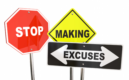whining: Stop Making Excuses Reasons Warning Signs 3d Illustration