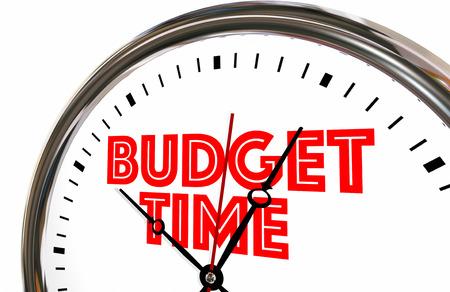 spend: Budget Time Save Spend Money Plan Clock 3d Illustration Stock Photo