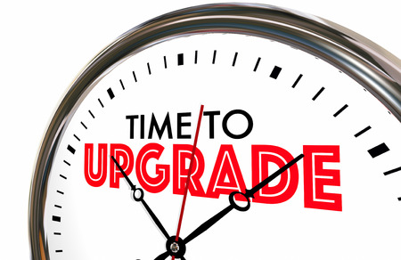 Time to Upgrade Clock Better Improvement 3d Illustration Stock Photo