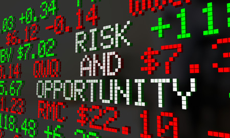 ticker: Risk and Opportunity Stock Market Gain Loss Investment Ticker 3d Illustration Stock Photo