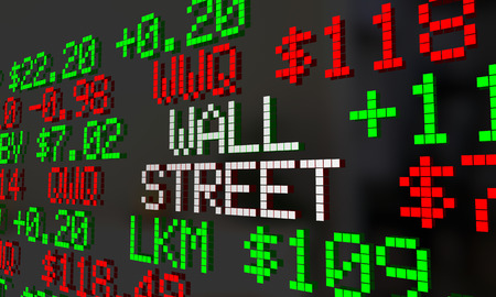 Wall Street Stock Market Ticker Exchange Words 3d Illustration Stock Photo