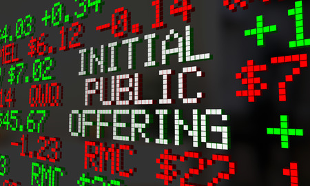 initial public offerings: Initial Public Offering IPO Stock Market Ticker 3d Illustration Stock Photo