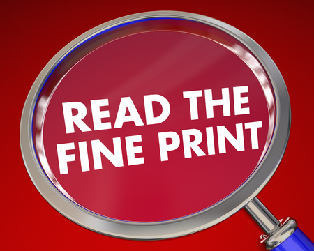 legality: Read the Fine Print Magnifying Glass Contract 3d Illustration