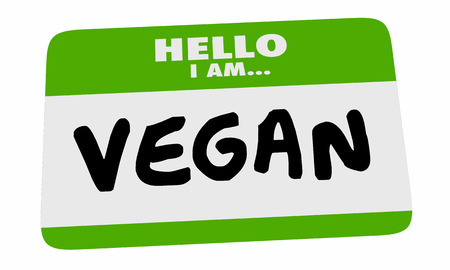 im: Hello Im a Vegan Name Tag Sticker Vegetarian Diet 3d Illustration