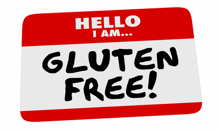 dietary: Gluten Free Hello Name Tag Sticker Special Dietary Needs 3d Illustration.jpg