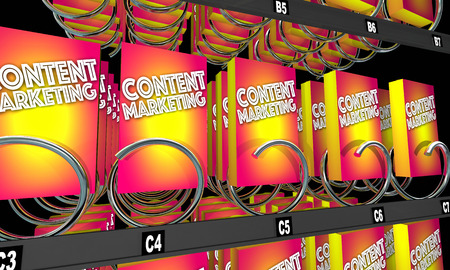 website words: Content Marketing Vending Machine Products 3d Illustration