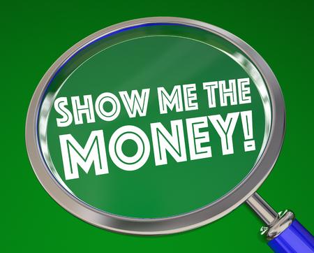 salarios: Muéstrame la ilustración 3d de lupa de dinero Foto de archivo