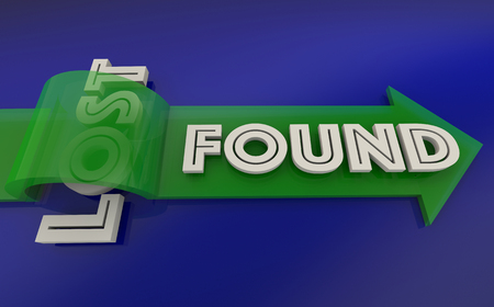 locating: Lost Found Arrow Over Word 3d Illustration